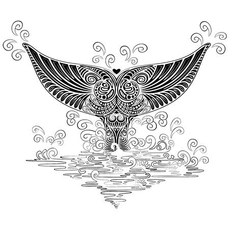 Whale Tail Boho Tattoo Style