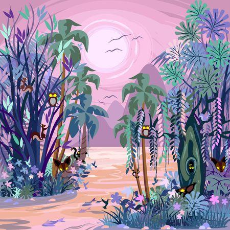 Los ojos del bosque brumoso encantado Ilustración de vector