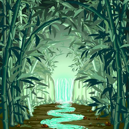 Fluorescent Waterfall on Green Surreal Bamboo Forest