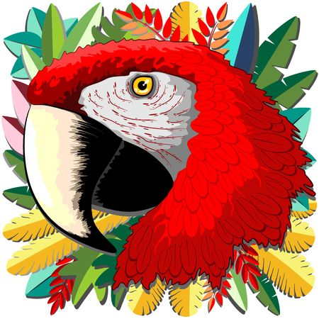 Macaw Parrot Paper Craft Digital Art