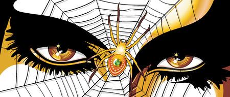 Spider Woman Golden Eyes Illustration