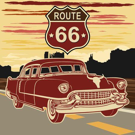 Car Retro Vintage Vehicle on Route 66 Illustration