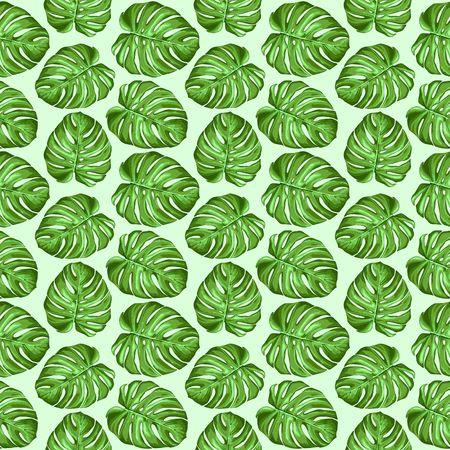 Monstera Tropical Leaves Seamless Textile Patten Vector Design