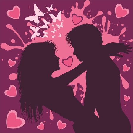 Valentines Day Couple of Lovers in Purple and Pink Vector Illustration