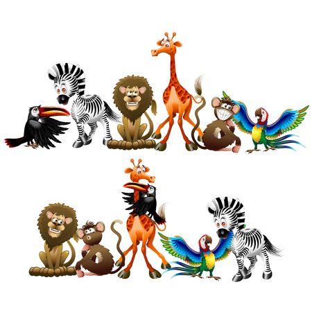 Wild Animals Cartoon Characters isolated on white vector Illustration