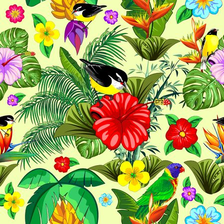 Birds and Nature Floral Exotic Seamless Pattern Vector Design Illustration