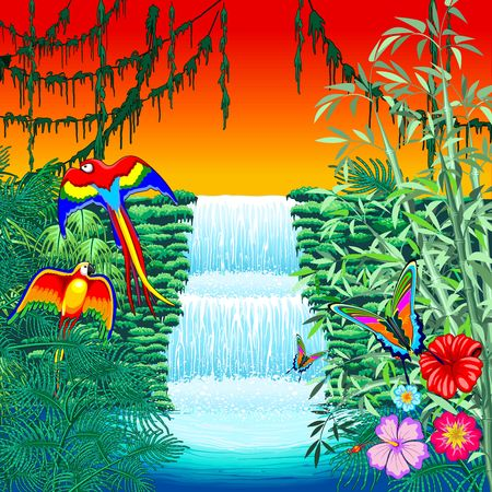 Waterfall Macaws and Butterflies on Exotic Landscape in the Jungle Naif Style Vector Illustration