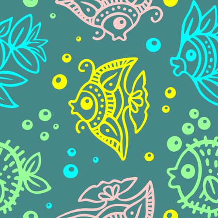 Fishes Batik Style Seamless Pattern Vector Design Vettoriali