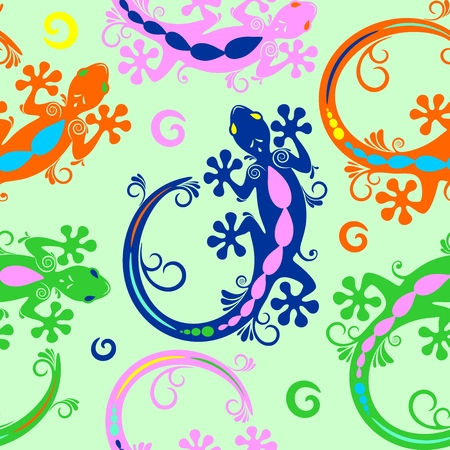 Gecko Lizard Tattoo Style Seamless Pattern Textile Vector Design Illustration