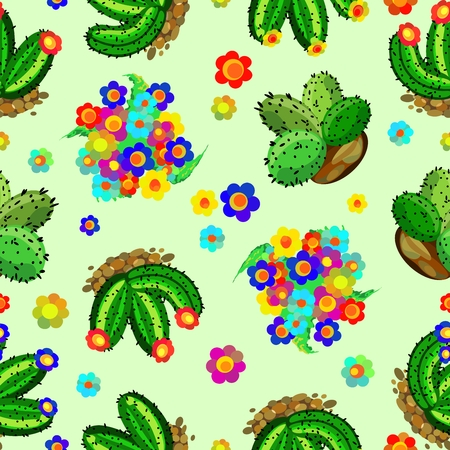 Succulents and Cactus Colorful Floral Seamless Pattern