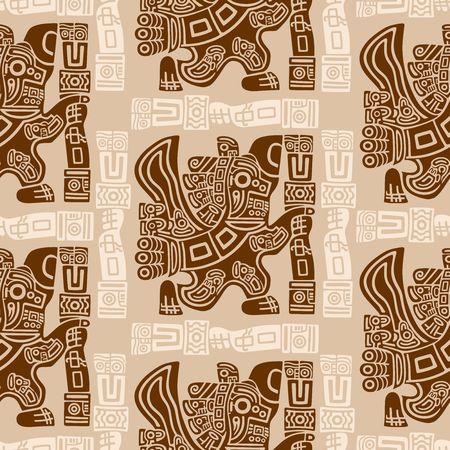 Aztec Eagle Warrior Tribal Ancient Design Seamless Pattern