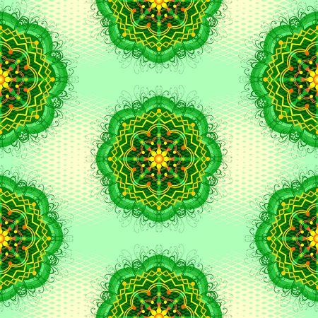 Mandala Zen Greenery Seamless Pattern Design Vector Art Illustration