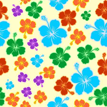 Hibiscus Exotic Colorful Seamless Pattern Vector Graphic Art