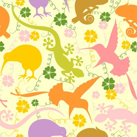 Exotic Animals Pastel Colors Seamless Pattern Vector Graphic Art