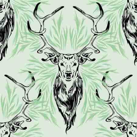 Deer Portrait Black Stroke on Green Seamless Pattern Vector Design Illustration