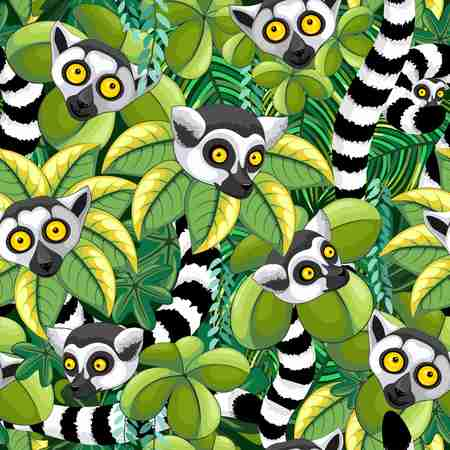 Lemurs of Madagascar in Exotic Jungle Seamless Pattern Vector Textile Design