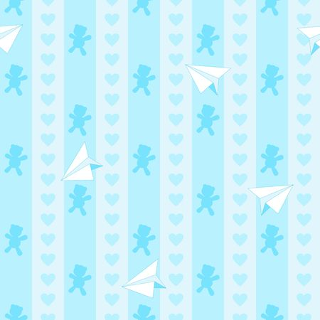 Teddy Bear Hearts and Plane Paper Cute Baby Boy Dream Vector Seamless Pattern Illustration