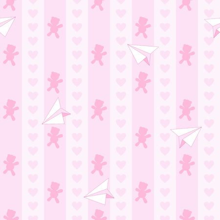 Teddy Bear Hearts and Plane Paper Cute Baby Dream Girl Vector Seamless Pattern