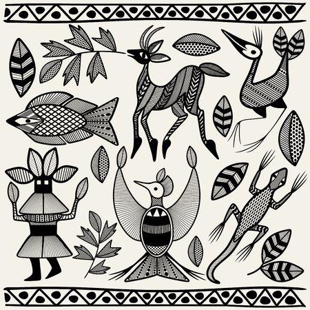 African Senufo Korhogo Tribal Ethnic Art Elements Vector Fabric Design Illustration
