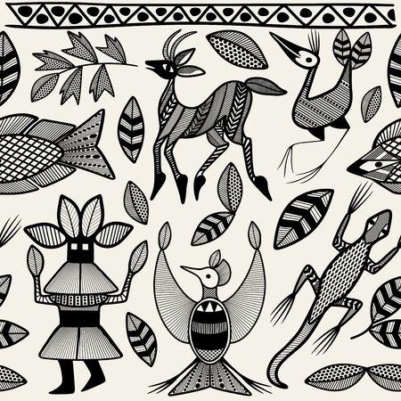 African Senufo Tribal Korhogo Ethnic Art Seamless Pattern