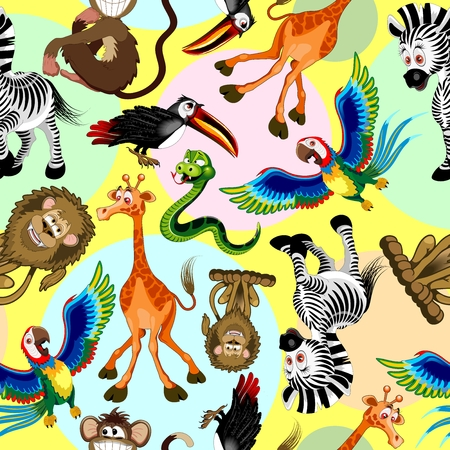 Wild Animals Cartoon Cute and Funny Characters Seamless Pattern Vector illustration Illustration