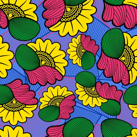 Wax African Cloth Textile Fabric Seamless Pattern Vector Design Reklamní fotografie - 118848801