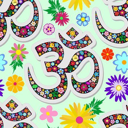Namaste Floral Yoga Sign Seamless Pattern Vector Textile Design Illustration