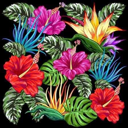 Tropical Flora Summer Mood Pattern Vector Textile Design