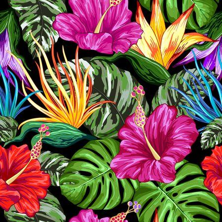 Tropical Flora Summer Mood Seamless Pattern Vector Textile Design