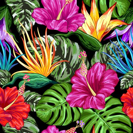 Tropical Flora Summer Mood Seamless Pattern Vector Textile Design