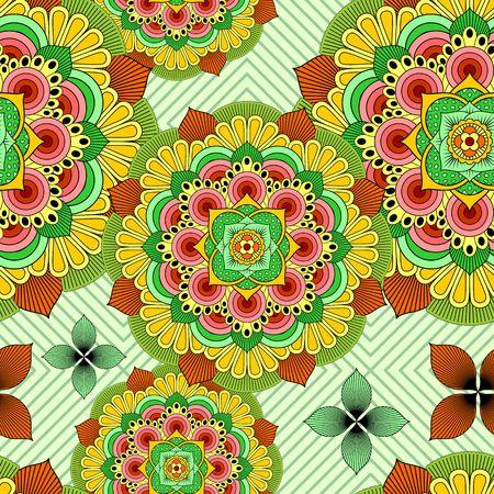 Mandala African Zen Floral Ethnic Art Textile Seamless Pattern Vector Design Illustration