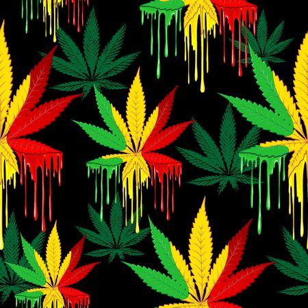 Marijuana Leaf Rasta Colors Dripping Paint Vector Seamless Pattern