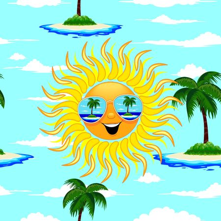 Summer Sun Cartoon with Sunglasses Beach Reflections Seamless Pattern Vector Illustration