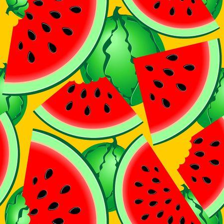 Watermelons Fresh Summer Fruits Seamless Pattern Vector Textile Pattern Illustration