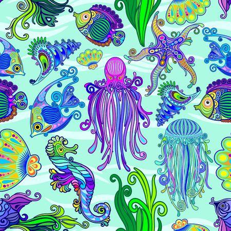 Sea Life Tattoo Style Cute Animals Seamless Pattern Vector Textile Design