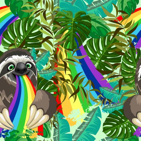 Sloth Spitting Rainbow on Rainforest Vector Seamless Pattern Imagens - 125797039