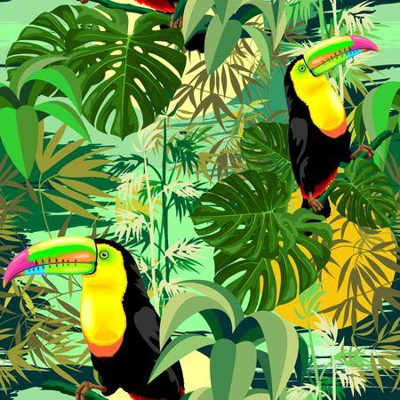 Toucan in Green Amazonia Rainforest Seamless Pattern Vector Design