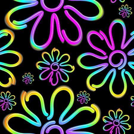 Daisy Spring Flower Psycnedelic Neon Light Vector Seamless Pattern Design