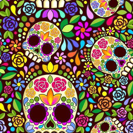 Sugar Skull Floral Naif Art Mexican Calaveras Vector Seamless Pattern Design Ilustração