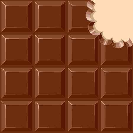 Chocolate Sweet Bar with a bite out of the corner Vector illustration Ilustração