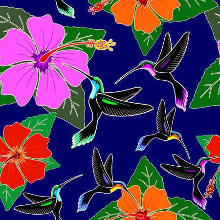 Hummingbird and Hibiscus Flower Exotic Vector Seamless Pattern Design
