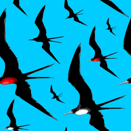 Frigate Birds Majestic Flight Vector Repeat Seamless Textile Pattern Design