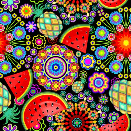 Mandalas Flowers and Exotic Fruits Vector Seamless Pattern Ilustração