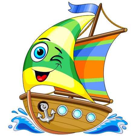 Sailing Boat Cute Cartoon Character Vector Illustration Ilustração