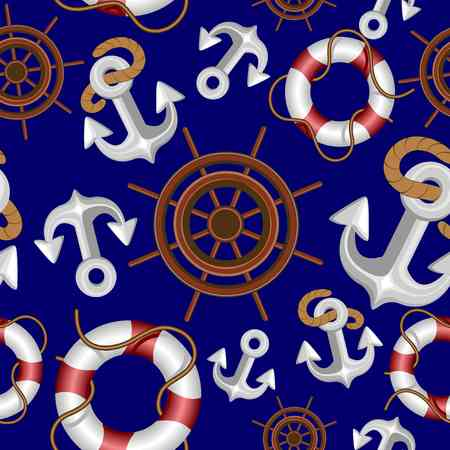 Nautical Marine and Navigation Elements Vector Seamless Fabric Textile Pattern Design