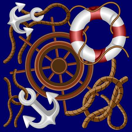 Nautical Marine and Navigation Elements Vector Background Ilustração