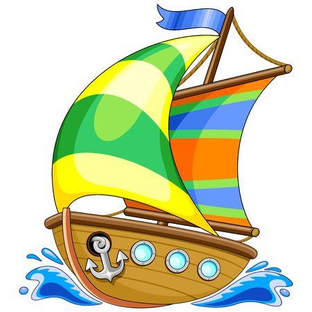 Sailing Boat Cartoon Vector Illustration