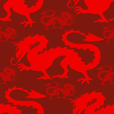 Dragon Red Mythological Creature Vector Seamless repeat textile Pattern Ilustração