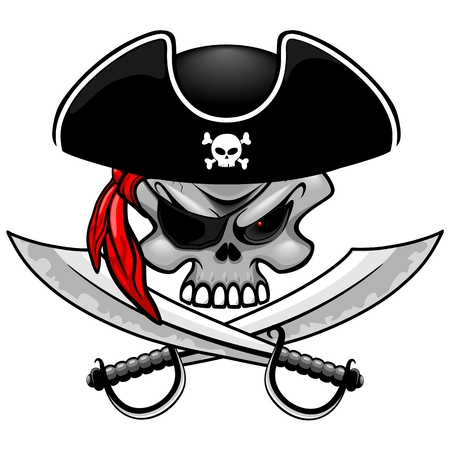 Pirate Captain Skull with Crossed Sabers vector illustration isolated on white