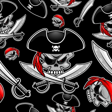 Pirate Captain Skull with Crossed Sabers Vector Seamless Pattern